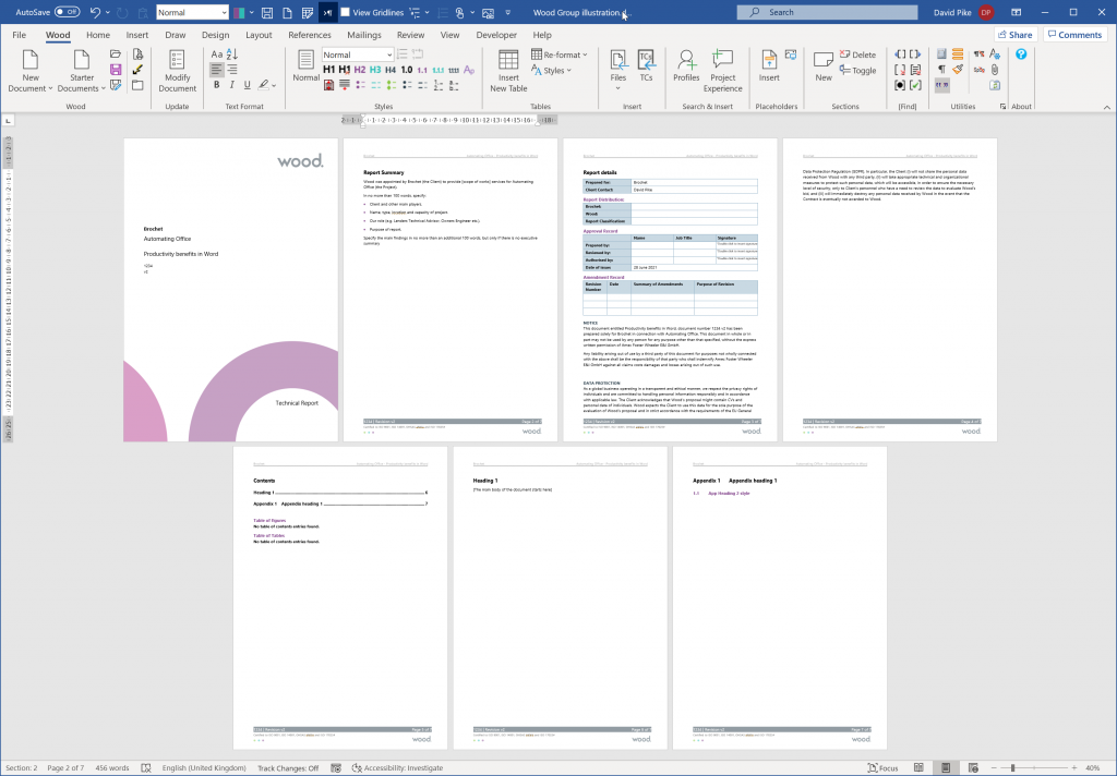 pages generated for new document