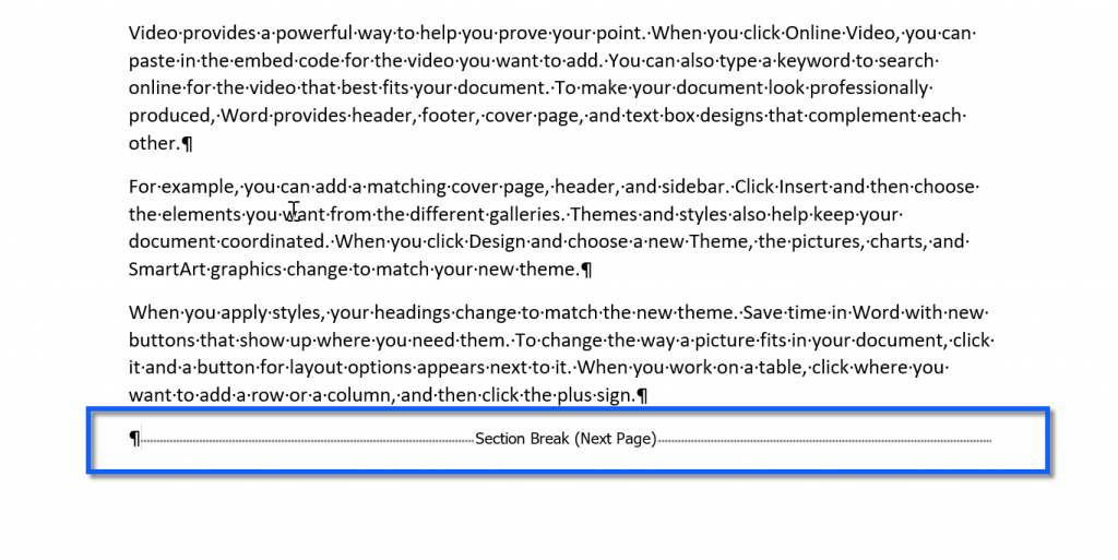 A section break in a Microsoft Word document