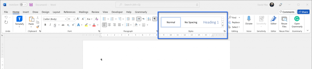 Image of Microsoft Word home tab on the ribbon