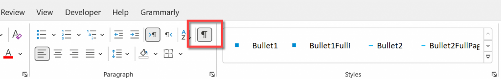 Show/Hide button in Microsoft Word